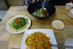空心菜とキムチチャーハン